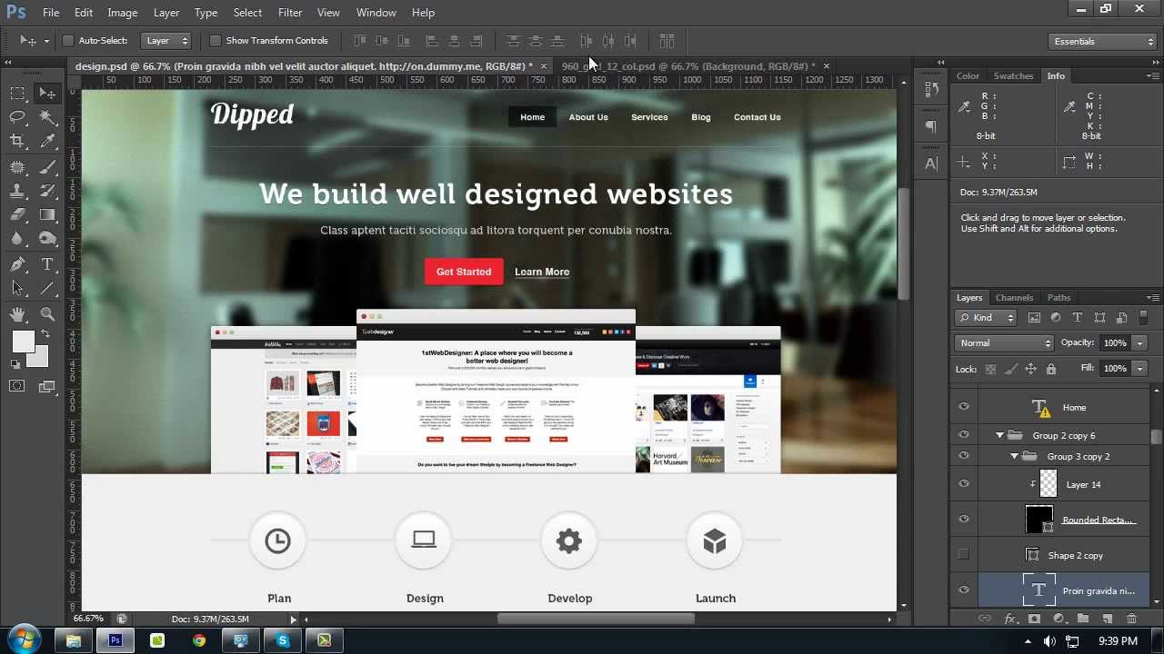 How to create a website layout with photoshop from for Draw website layout online